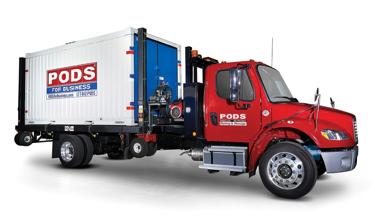 PODS for Business commercial container and delivery truck