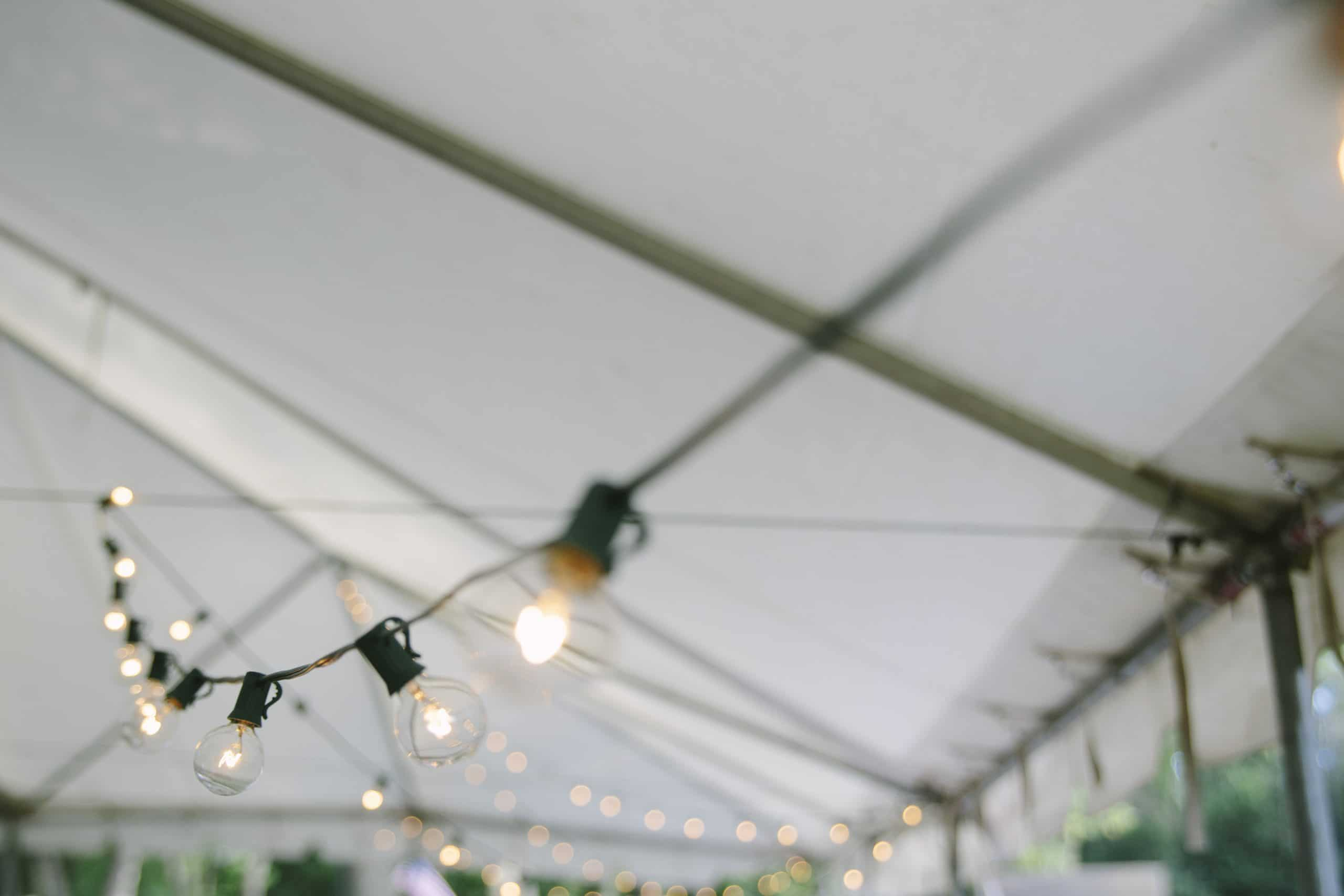 Lighting inside a tent for a pop-up event