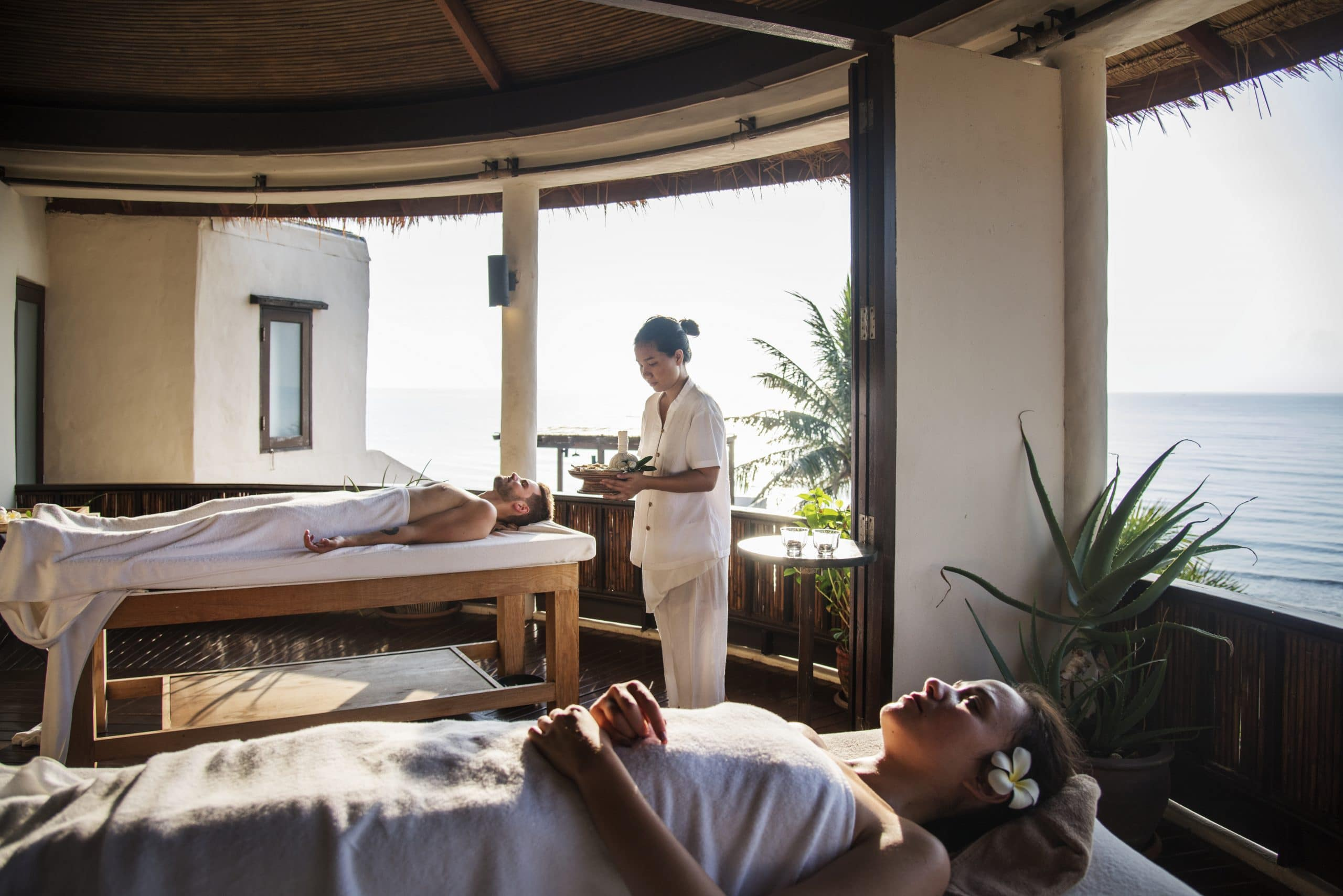 Hotel guests enjoying luxury spa amenities for their wellness