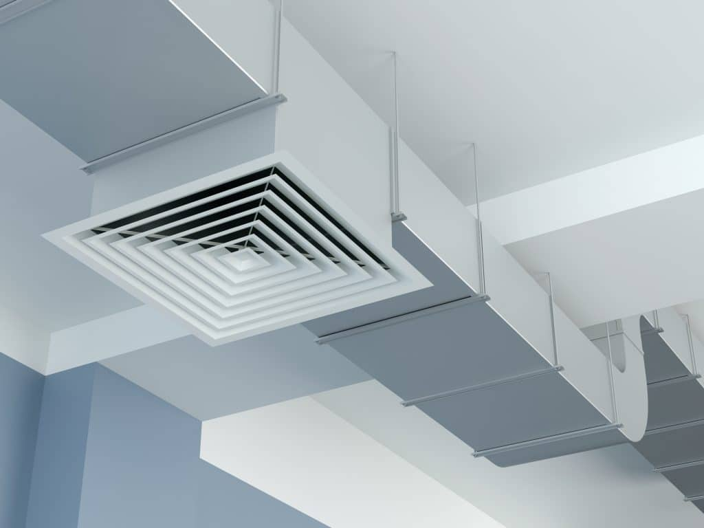 A commercial HVAC ceiling vent