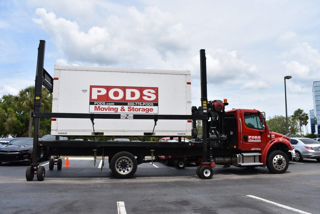 A PODS storagre container on a truck