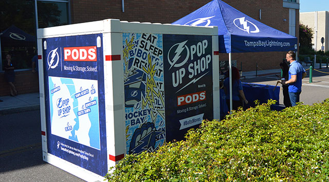 PODS container being used a traveling pop up shop for Tampa Bay Lightning