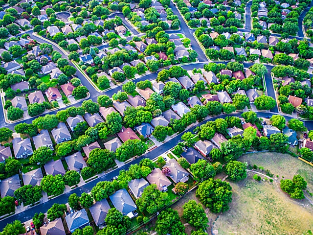 Aerial view of suburban housing in Brookhaven