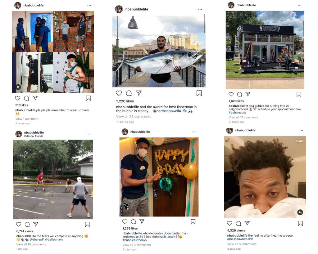 A screenshot of an Instagram account documenting the NBA bubble