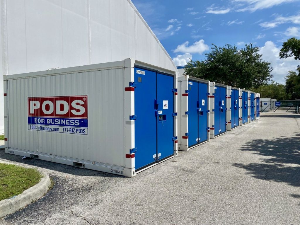 PODS containers being used on-site at a training bubble for the WNBA