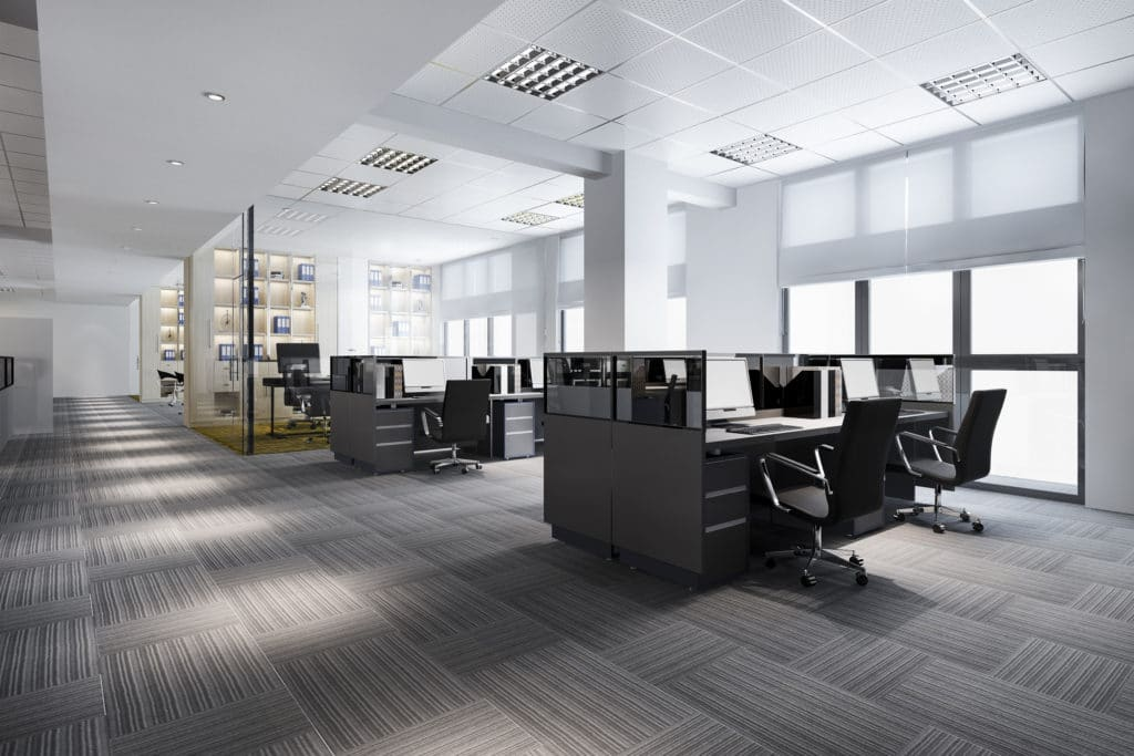 Visual showing empty work space of an open office design